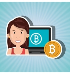 Woman laptop bitcoin online vector