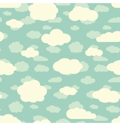 Blue sky and cute white clouds seamless pattern in vector image