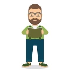 Man standing reading book vector
