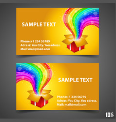 business card open gift with rainbow vector image