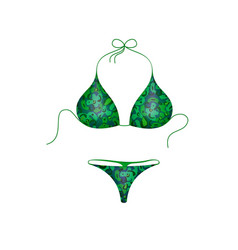 Bikini suit in green and blue military design vector