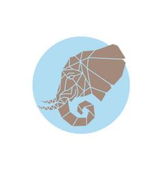 geometric elephant head made of triangle shapes vector image