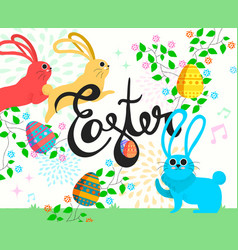 Happy easter bunny in spring season vector