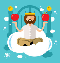 Paradise concept god in heaven flat style vector