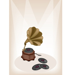Vintage gramophone brown stage vector