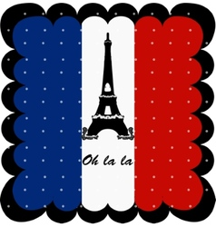 France flag and Eiffel Tower of Paris background vector image