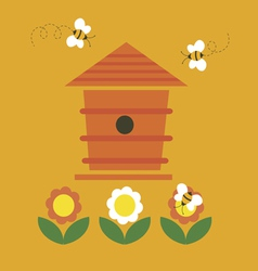 Beehive and bees vector