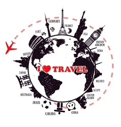 Travel background with earth and landmarks vector