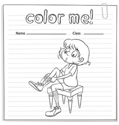 Coloring worksheet with a girl vector