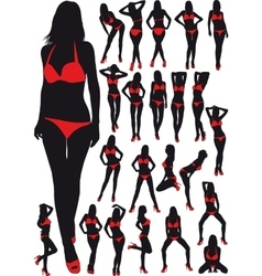 Silhouettes girls in swimsuit vector