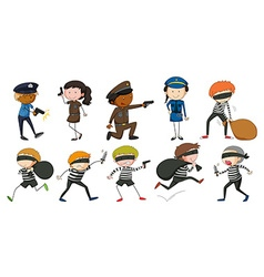 Policeman and robbers in different actions vector