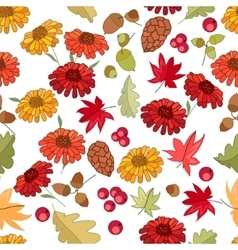 Seamless autumn pattern with red maple leaves vector image