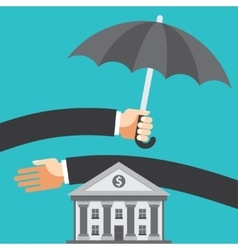 Umbrella protecting savings vector