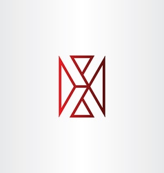 Letter x red line icon symbol vector