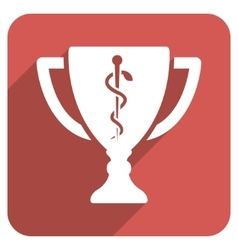 Medical cup flat rounded square icon with long vector