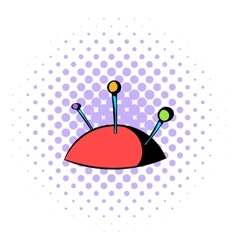 Pincushion with pins icon comics style vector
