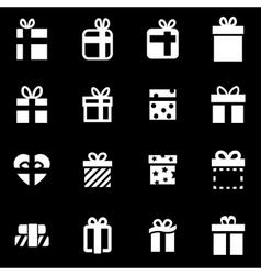 White gift icon set vector