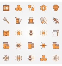 Beekeeping colorful icons vector