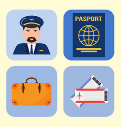 aviation icons set airline graphic symbols vector image vector image