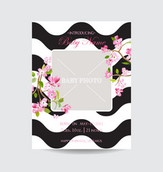 Baby arrival sakura floral card save the date vector