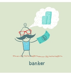 Banker with the dollar thinks about money vector