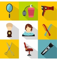 Barber icons set flat style vector