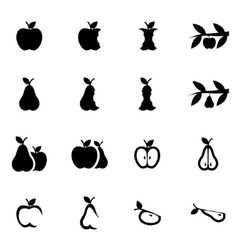 black apple and pear icon set vector image vector image