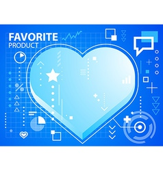 bright heart on blue background for banner vector image