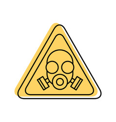 Caution signal with laboratory mask isolated icon vector