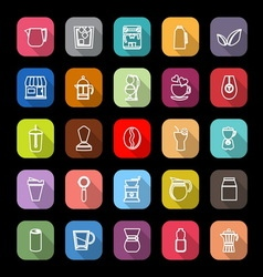Coffee and tea line icons with long shadow vector