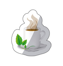 color coffee cuppa with steam and leaves in the vector image