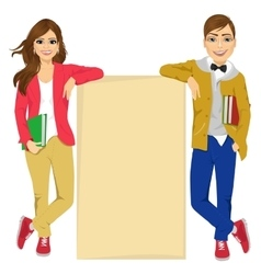 Couple of college students vector image