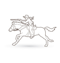 Cowboy on horse aiming rifle outline vector
