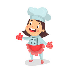 Cute cartoon little girl chef character in red vector