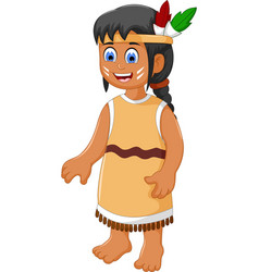 Cute woman indian tribal cartoon vector