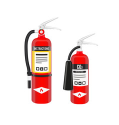 Fire extinguishers set in north american style vector