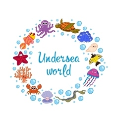Frame of marine life ocean fauna underwater vector