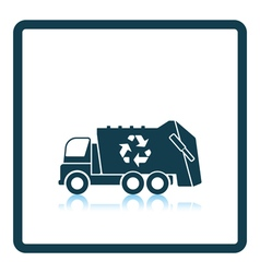Garbage car with recycle icon vector