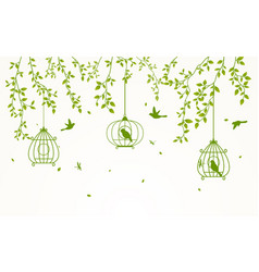 Green leaves background with birdcage vector