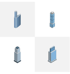 Isometric skyscraper set of building tower urban vector