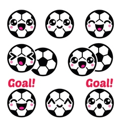 Kawaii soccer ball football icons set vector image vector image