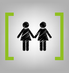 Lesbian family sign black scribble icon vector
