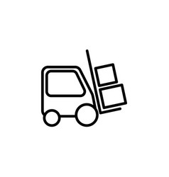 line forklift icon on white background vector image
