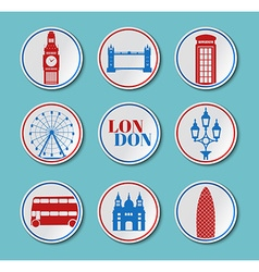 London Set round stickers vector image vector image