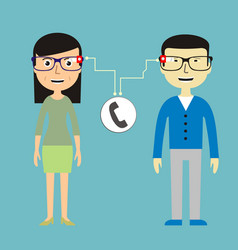 man and woman chatting via smart glasses vector image vector image