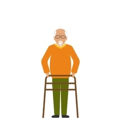 Old Disabled Man Isolated on White Background vector image vector image