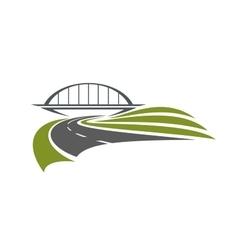 Road under the railway bridge vector image