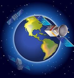 Satellites surrounding the planet vector