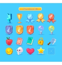 Set of cartoon game resources icons for casual vector