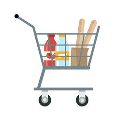 Shopping cart with products vector